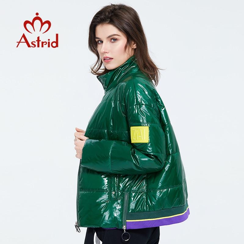 Astrid 2020 Spring Women Parka Coat Warm Jacket Women Thin Cotton Bright Colors  Short  Coat Loose  Standing Collar  ZM-3073