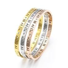New Fashion Roman Number Bangles Bracelet for Women Rhinestone Cuff Bracelets Wristband Band Trendy Jewelry Gifts pair of trendy geometric rhinestone alloy ear cuff for women