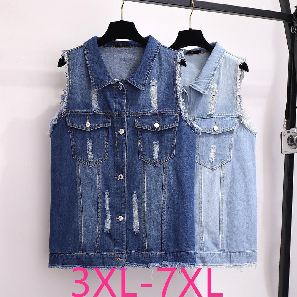 2019 Autumn Winter Plus Size Coat For Women Lapel Casual Loose Sleeveless Denim Pocket Short Vest Blue Clothes 4XL 5XL 6XL 7XL