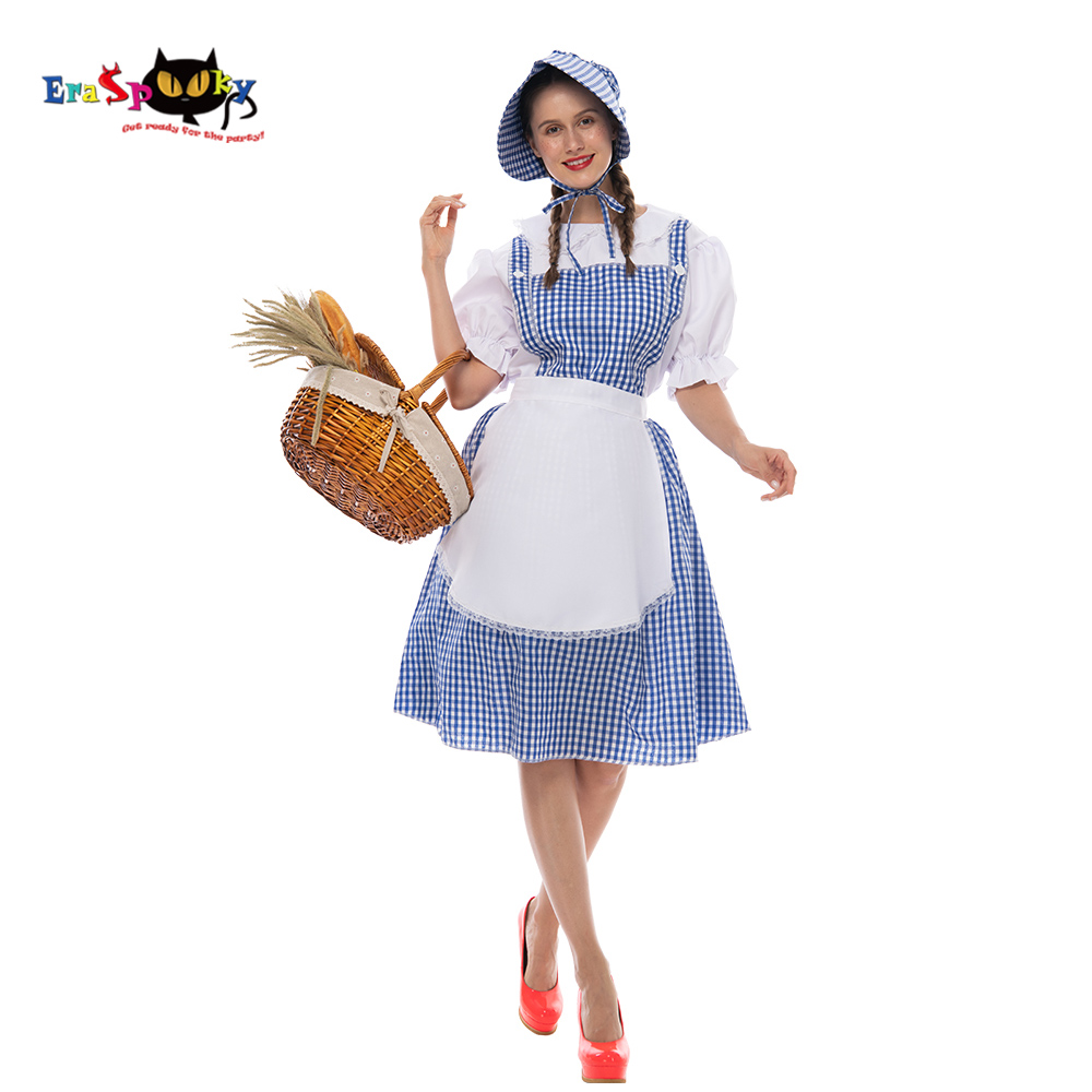 Eraspooky film OZ büyücüsü Dorothy Gale Cosplay elbise cadılar bayramı kostüm kadınlar için Retro parti sahne süslü elbise önlük
