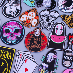 Cartoon Anime Patch On Clothes Punk Skull Stripes Embroidered Patches For Clothing Iron On Patches For Clothes Badge DIY T-shirt