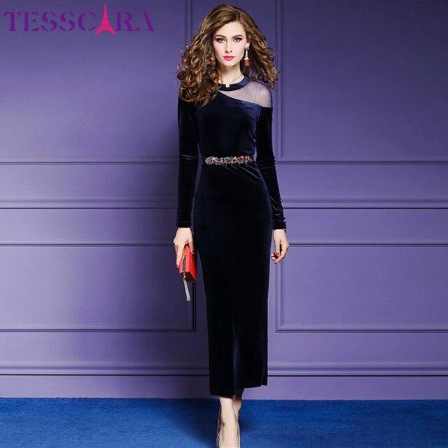TESSCARA kadınlar sonbahar & kış zarif kadife elbise kadın Vintage uzun parti kalem Robe Femme omuz örgü tasarımcı Vestidos