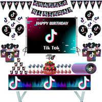 Tik fiesta Tok decoración de fiesta de cumpleaños vajilla Set plato y vaso de papel Mantel y servilletas Banner Baby Shower chico suministros de cumpleaños