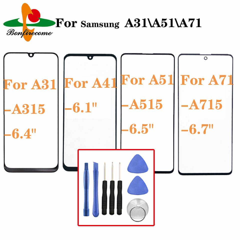 لسامسونج غالاكسي A31 A41 A51 A71 A415 A315 A515 A715 الجبهة شاشة تعمل باللمس لوحة LCD خارج غطاء زجاجي عدسة استبدال
