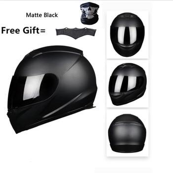 Casco de moto de calle con cuello de invierno desmontable bufanda DOT (M, negro mate) XXXL 65cm