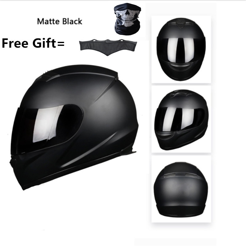 Full Face Motorcycle Street Bike Helmet With Removable Winter Neck Scarf  DOT (M, Matte Black) XXXL 65cm