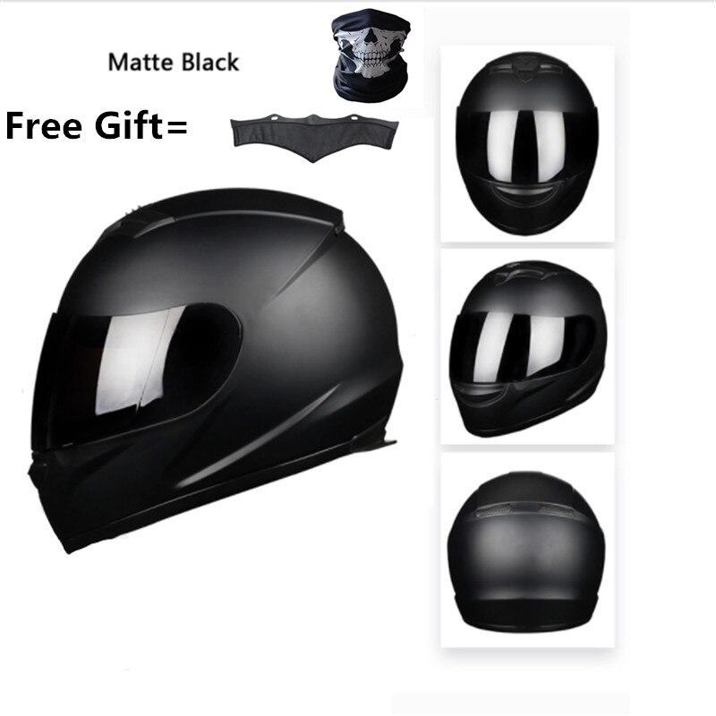 Full Face Motorcycle Street Bike Helmet With Removable Winter Neck Scarf  DOT (M, Matte Black) XXXL 65cm