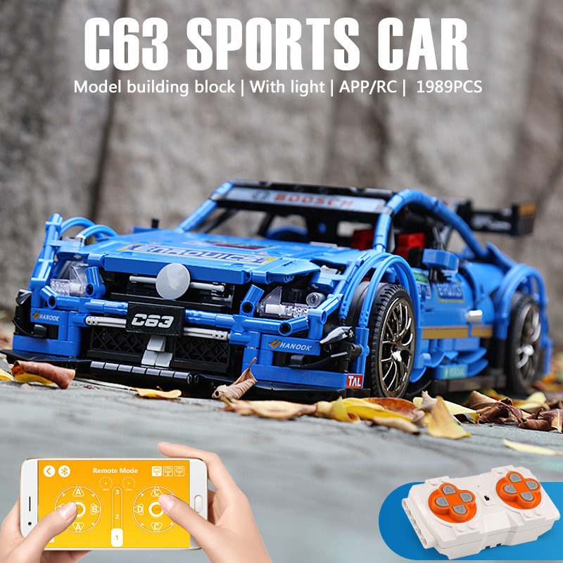 1 to 8 ratio Children's building blocks toy Compatible MOC 6687 city technic series Mercedes-Benzs AMG C63 Car model Bricks toys