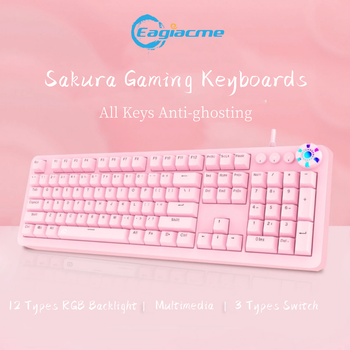 Pink Mechanical Gaming Keyboard Gamer Keycaps PBT Keycaps USB Wired Keyboard For PC/Laptop Blue/Brown/Red Switch Keyboard pro wired rgb mechanical keyboard bluetooth wireless cherry switch gaming keyboard double shot backlit keycaps for gamer