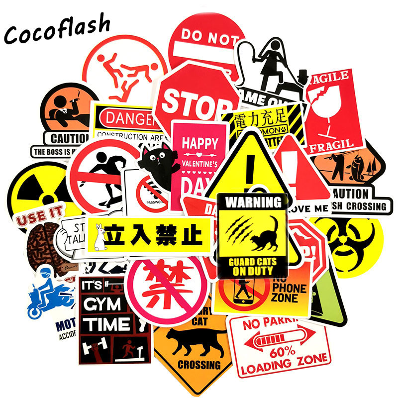 100PCS Warning Stickers Danger Banning Signs Reminder Laptop Skateboard Luggage Suitcase Waterproof Sticker Pack Classic Toys