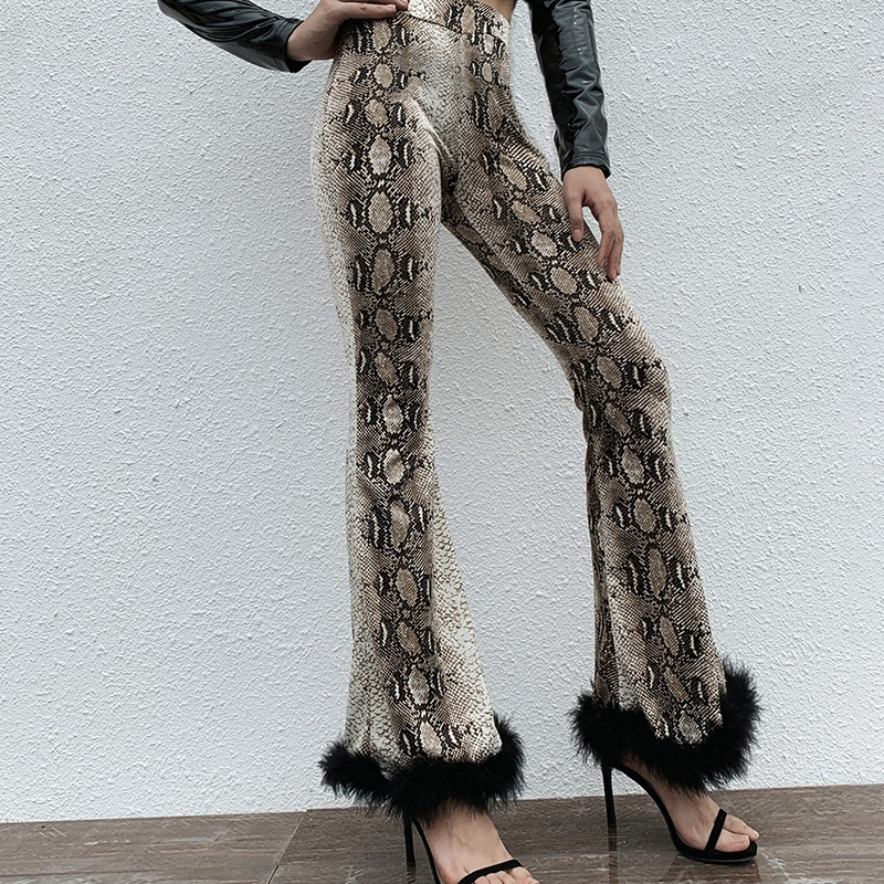 Autumn Winter Europe And The United States New Bell Bottom Pants High Waist Slim Snake Print Stitching Fur Trousers