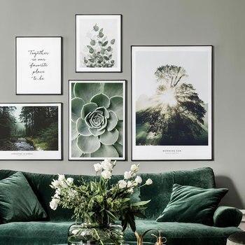 Cartel de la hoja de la planta nórdica fotografía paisaje lienzo pintura pared arte cuadros para sala de estar impresiones decorativas modernas