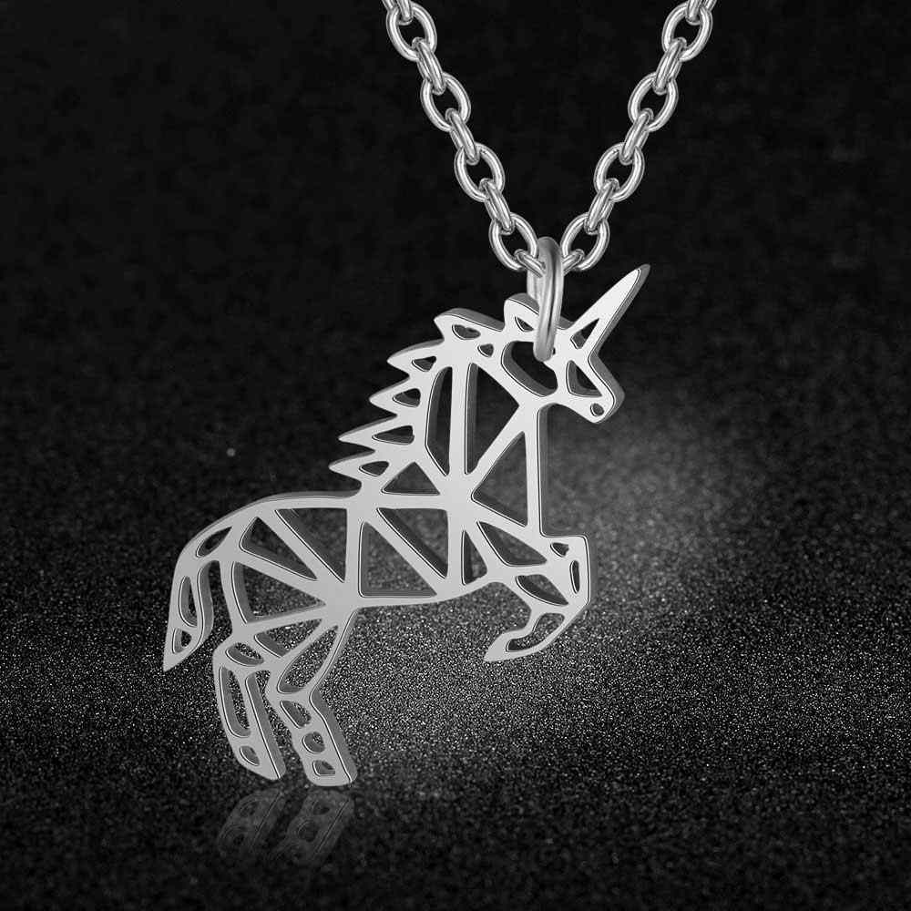 AAAAA Quality 100% Stainless Steel Flying Unicorn Charm Necklace for Women Wholesale Fashion Charm Necklaces Special Gift