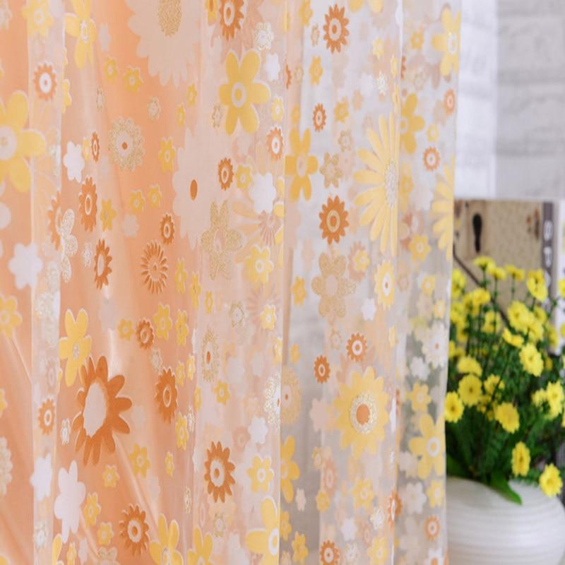 Купить с кэшбэком 1pc Flower Printed Sheer Curtain Tulle Window Treatments Voile Drape Valance For Living Room Bedroom Modern Voile Curtains