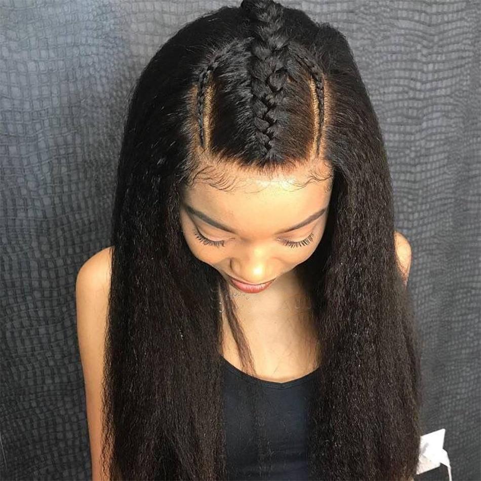 Péruvien frisé droit cheveux humains perruques 4*4 dentelle fermeture perruque avec bébé cheveux pré plumé Arabella Remy 180% densité fermeture perruque
