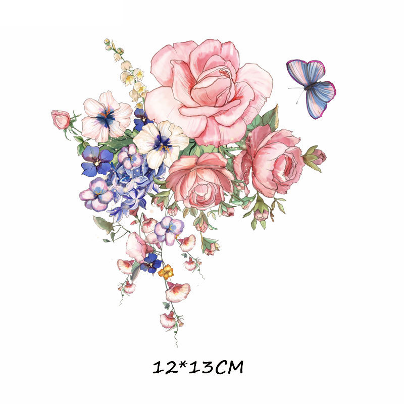 2019 Fashion Iron On Watercolor Flowers Patches For Clothing 2 Pieces Patch Suitable In T-shirts, Clothing. Denim Jacket