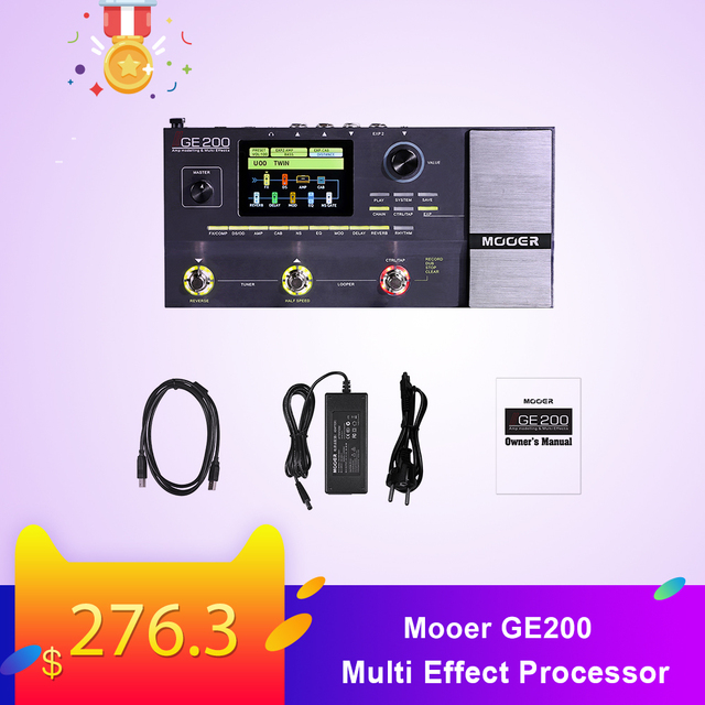 Mooer GE200 Amp modelling Multi Effect Processor Pedal With 26 IR Speaker Cab Model 52 Second Looper 55 Amplifier Models