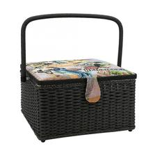 European Style Needlework Box Household Sewing Basket Hand Woven Needle Thread Storage Box Organizer
