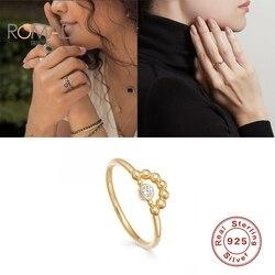 ROMAD 925 серебряные кольца для женщин все матч мини-алмаз изогнутые бисером полое кольцо Роскошные модные украшения