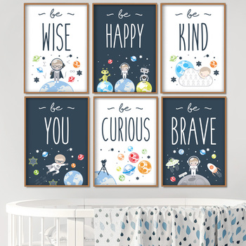 Astronaut Planet Rocket Quotes Nursery Wall Art Canvas Painting Nordic Posters And Prints Wall Pictures Girl Boy Kids Room Decor astronaut spaceship canvas poster nursery quotes wall art print cartoon painting nordic kids decoration pictures baby room decor