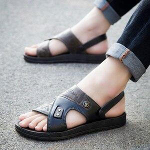 Повседневные мужские мягкие сандалии, удобные сандали мужские летние кожаные сандалии мужские римские летние износостойкие уличные пляжн...