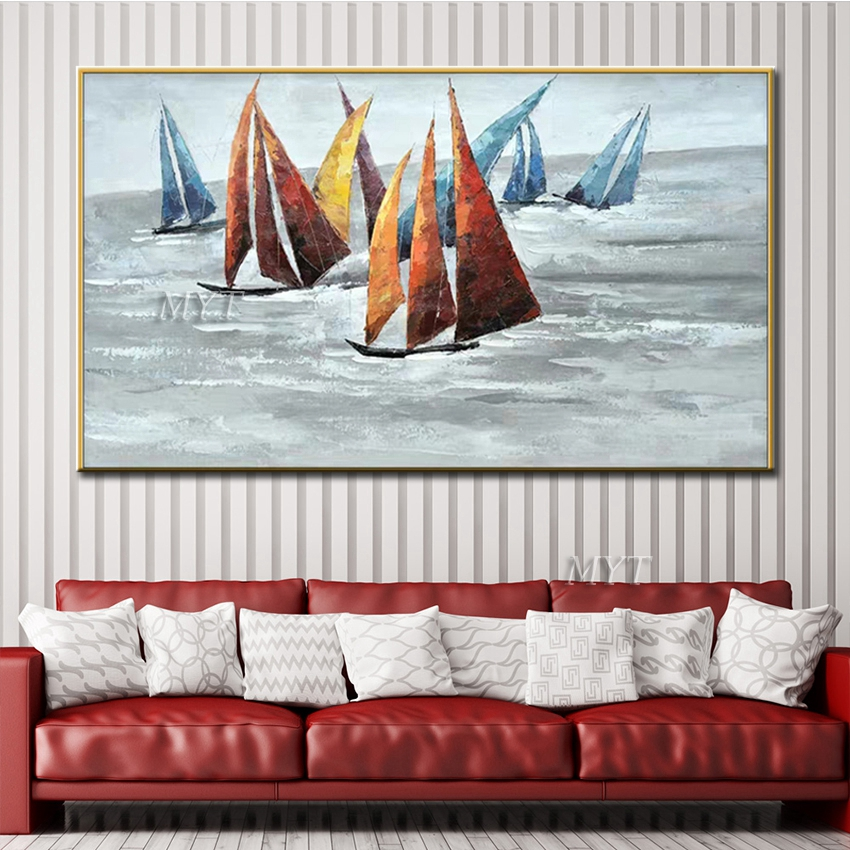2019 Ship And Sea Abstract Oil Painting On Canvas For Living Room Home Decor Pictures Wall Art Paintings No Framed 100 Handpainted From Flaminglily