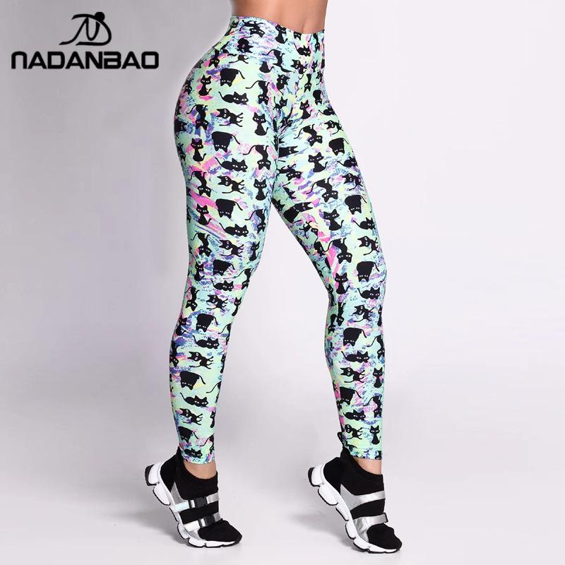 NADANBAO Casual Sporting Leggings For Women Fitness Elastic Pants Black Cats Printed Slim High Waist Workout Leggins
