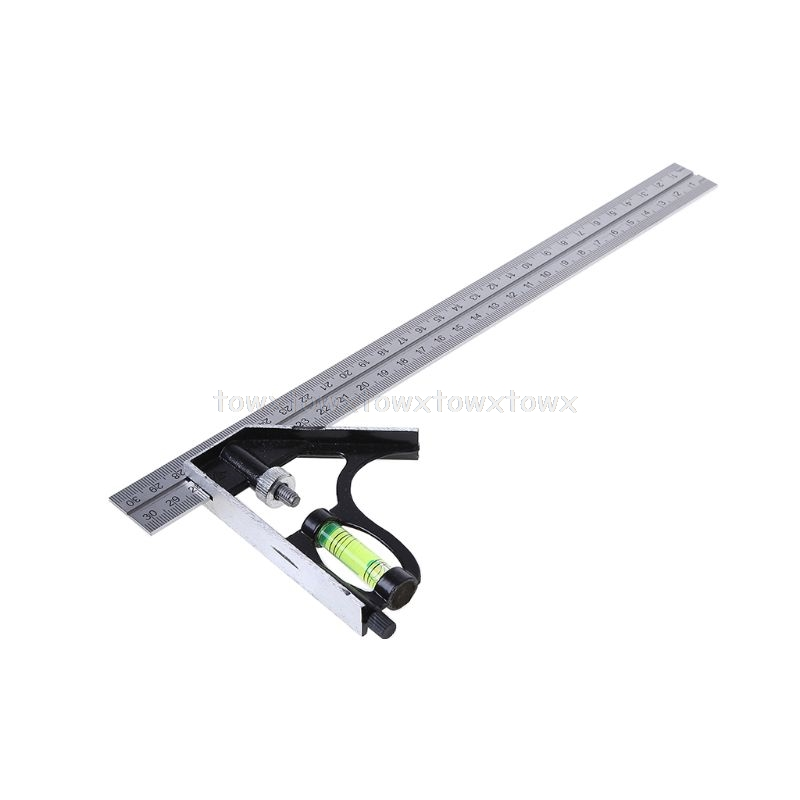 Adjustable Sliding Combination Square Ruler Level Measuring Tool 300mm (12