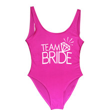 Team BRIDE Letter Print Diamond Pattern One Piece Swimsuit Women Swimwear Sexy Wedding Bachelor Party Bathing Suit Swimsuits(China)