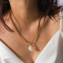 Lacteo Bohemian Imitation Pearl Pendant Necklaces Statement Women 2019 Fashion Round Circle Clavicle Chain Necklace Jewelry Gift