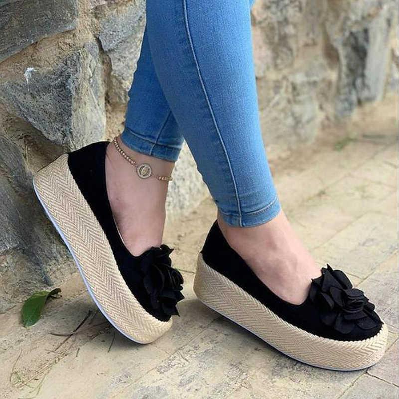 HEFLASHOR çiçek daireler kadın ayakkabılar günlük ayakkabılar kadın platformu Sneakers kayma deri süet bayanlar loafer'lar zapatos de mujer