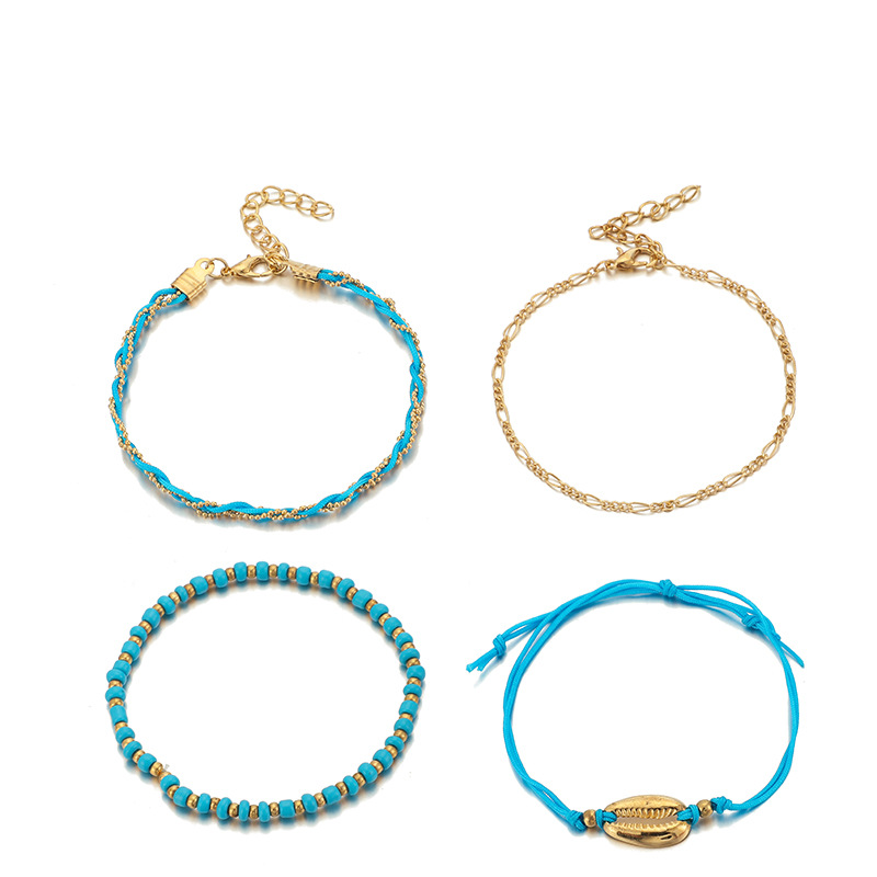 GUVIVI 2020 Gold Color Chain Bracelet on Leg Beach Ankle Jewelry Bohemian Pendant Anklets Beads Anklets for Women 5