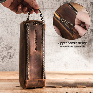 Image 4 - Genuine Leather Zipper Pen Pencil Case Bag Handmade Vintage Retro Creative Standable School Stationary Pen Pouch Large Capacity