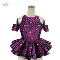 2019 African Women Shirt Fashion Strapless Tops Flower Puff Hem Designs Women's Shirts Women African Clothing WY1392