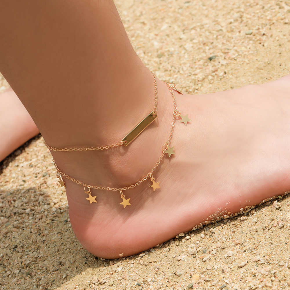 Nueva tendencia de las mujeres, pulsera de aleación Simple Material playa pulsera para el tobillo de doble-capa de cinco puntas de la estrella pulsera para las mujeres de moda de Metal
