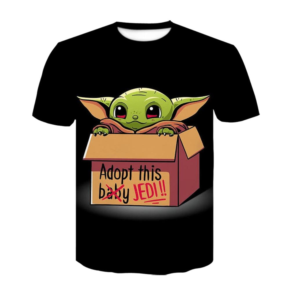 Bébé le mandalorien T-shirt impression 3D drôle T-shirt manches courtes Star Wars garçons et filles vêtements 2020 noir T-shirt