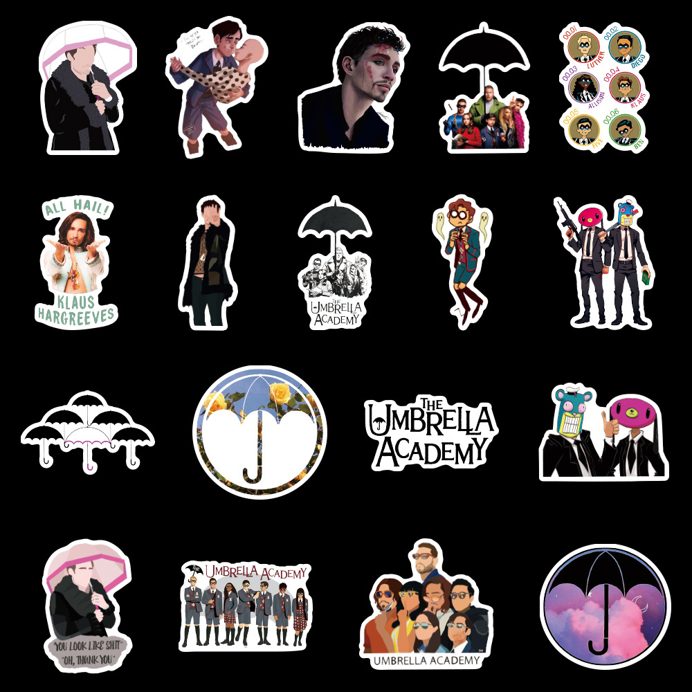 ZFHH 50Pcs//Set The Umbrella Academy Stickers For Laptop Luggage Motorcycle Phone Skateboard Toys Car Diary PVC Waterproof Pegatinas