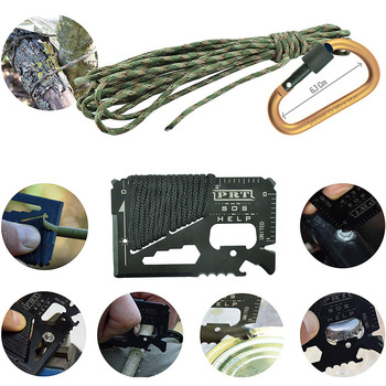 11In1 Professional Military Survival Kit Emergency Mountain Outdoor Hiking Flashlight Tactical Bracelet Paracord Camping Trip 5