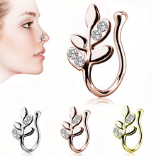 1 pc New Design Metal Crystal Leaves False Nose Ring Earring Ladies Septum Rings Body Piercing Jewelry High Quality(China)