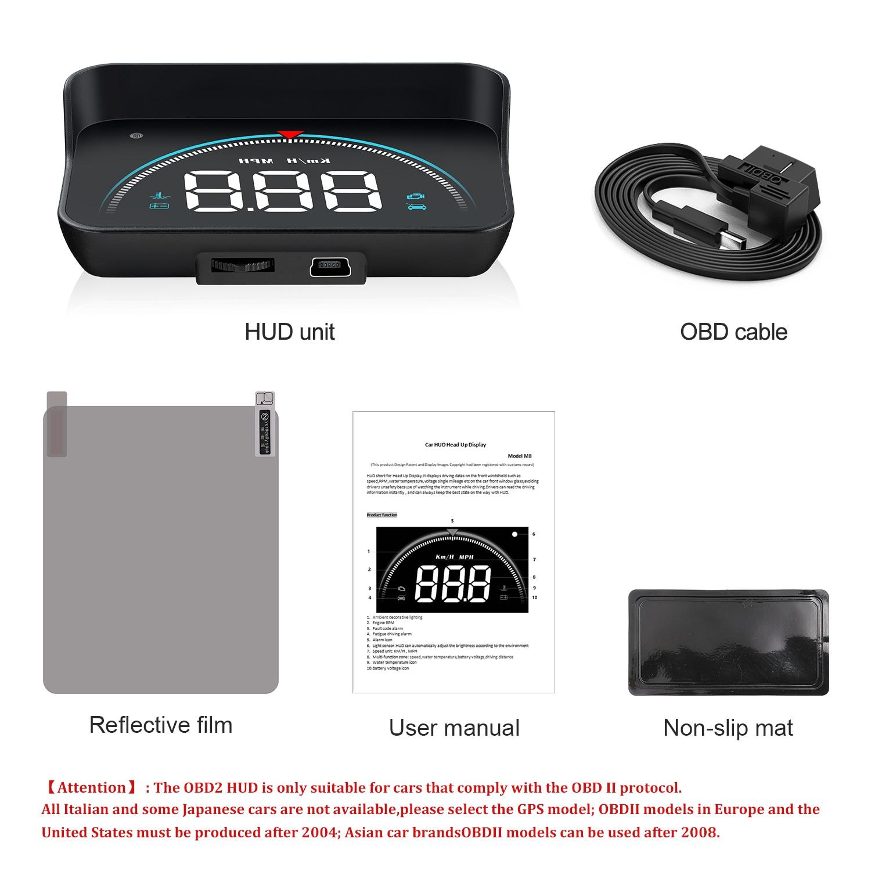 Image 5 - GEYIREN M8 Car HUD Head Up Display OBD2 II EUOBD Overspeed Warning System Projector Windshield Auto Electronic Voltage Alarmhud autodigital speedometer gpskm digital -