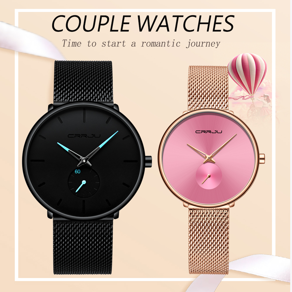 Lover Watch CRRJU Top Luxury Brand Stainless Steel Waterproof Watch For Men And Women Fashion Casual Wristwatch Set For Sale