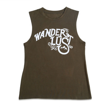 Letter Print O-Neck Tank Female Army Green  1