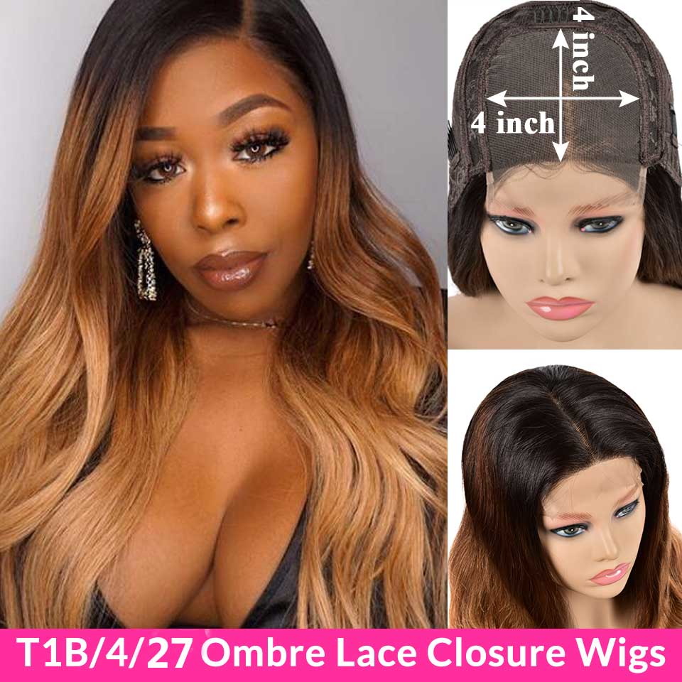 Ombre Lace Front Human Hair Wigs Pre Plucked 150% T1B/4/27 30 Brazlian Body Wave Wigs For Black Women Remy 4X4 Lace Closure Wigs
