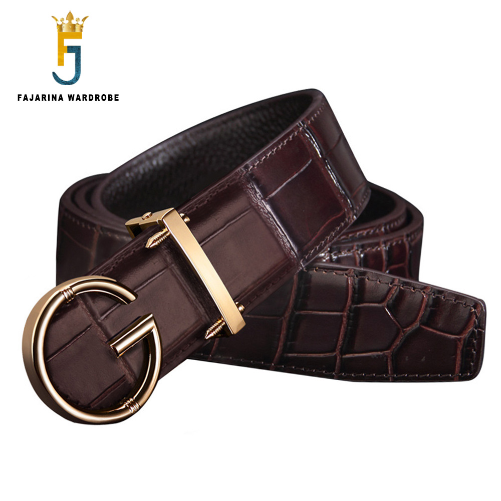 FAJARINA Unique Design Letter Smooth Buckle Black Belts for Men High Quality Crocodile Pattern Cow Cowhide Leather Belt LUFJ816