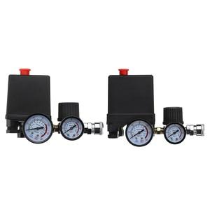 Image 5 - 空気圧縮機ポンプ圧力制御スイッチ 4 ポート 220v/380vマニホールド救済レギュレータ 30 120PSI制御バルブゲージ