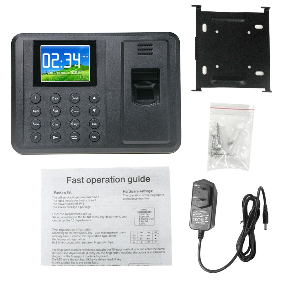 Fingerprint Time Attendance Clock Recorder Digital Electronic Reader Machine Universal 2.8 Inch TFT Sreen Display