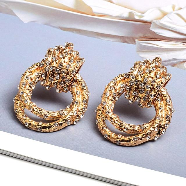 Irregular Metal Gold Rhinestone Dangle Drop Crystal Earrings 4