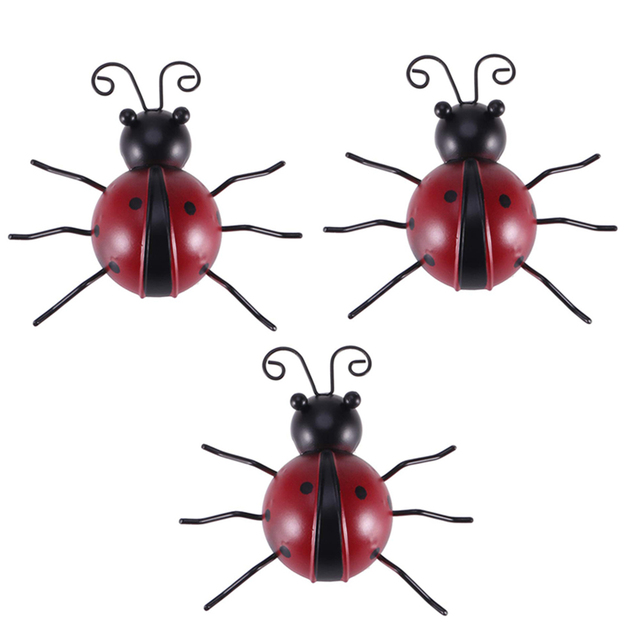 3pcs Outdoor Garden Iron Home Sturdy Craft Hanging Ornament Ladybug Shape Decoration Anti Fade Wall Art Weatherproof Traceless 2
