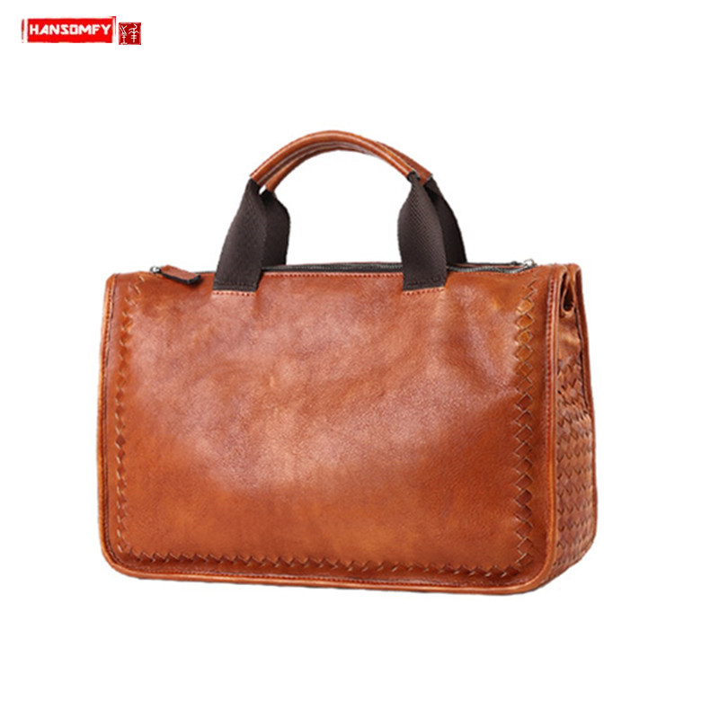 Soft Genuine Leather Men's Handbag Retro Casual Travel Bag Shoulder Messenger Bag Hand-woven Business Briefcase Male Laptop Bags