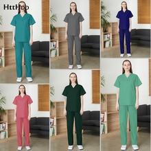 Unisex Surgical Uniforms Stretch Fabric Hospital Nursing Scrubs Sets Dental Clinic Doctor Uniform Veterinary Work Clothes new